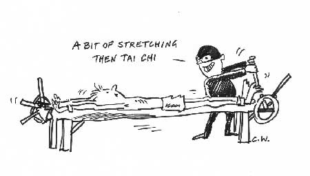 Stretching for tai chi cartoon