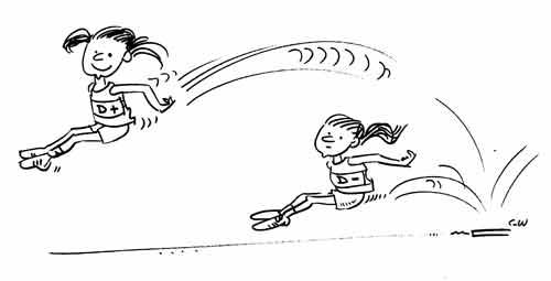 cartoon - girls jumping