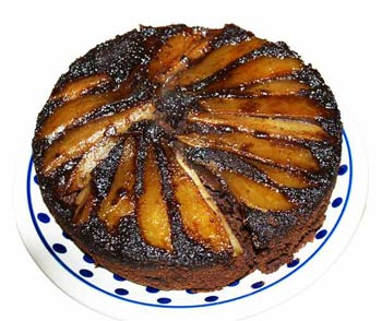 Pear and chocoalte upside down cake