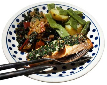 Salmon with anchovy and parsley - recipe
