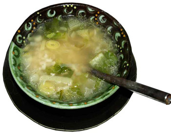 Cos lettuce adn rice soup recipe