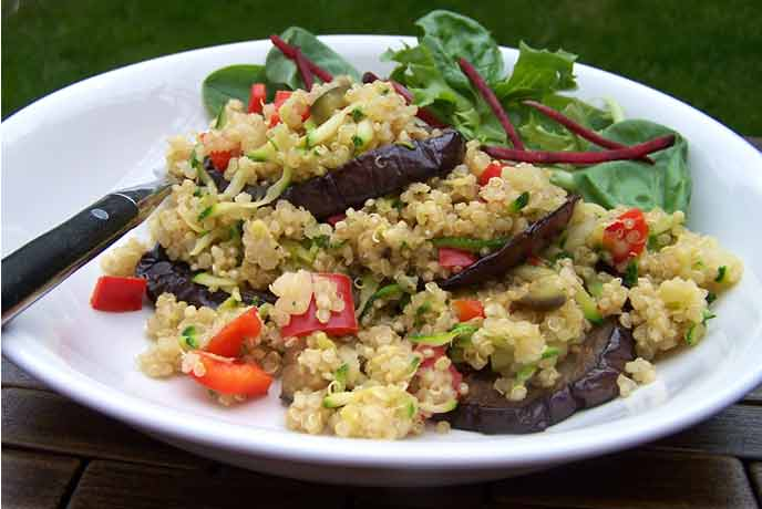 Aubergine roast with quinoa recipe
